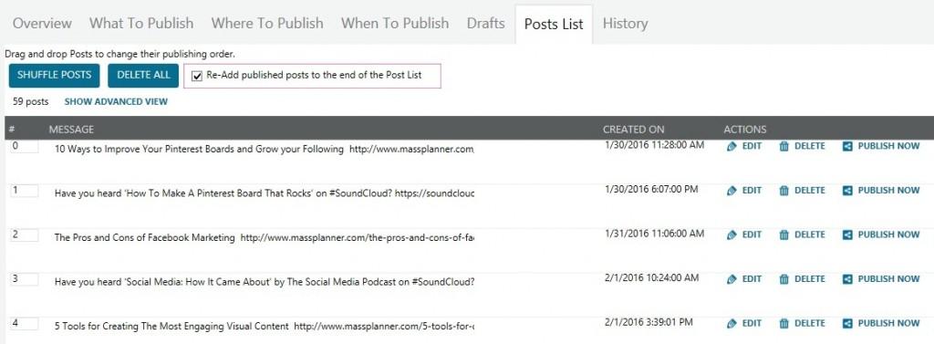 posts list