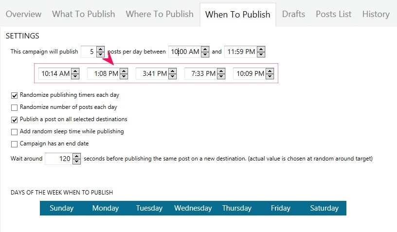 when to publish settings