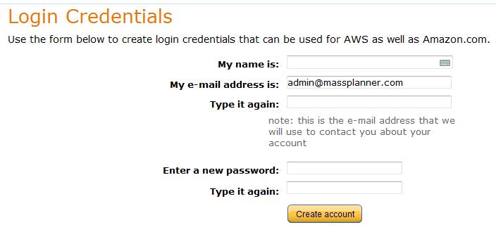Amazon AWS login credentials