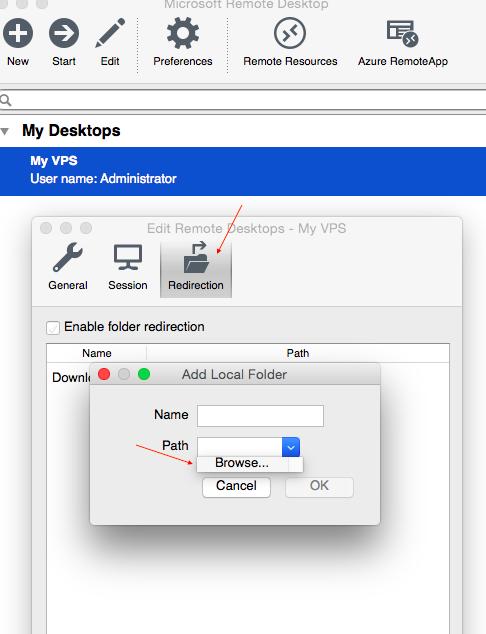 Mac OS add local folder to VPS