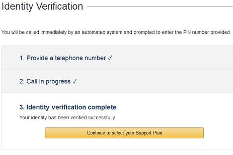 aws identity verification complete