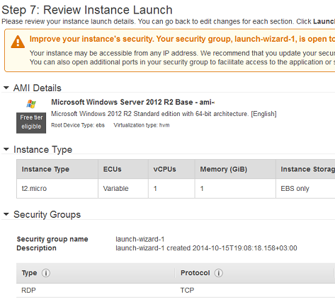 aws review instance launch