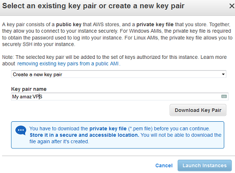 creating a new key pair fo aws vps