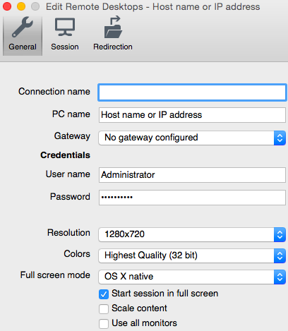 creating a remote desktop connection in mac os x