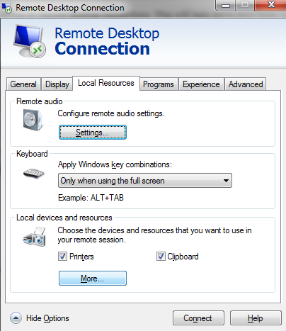 remote connections options local resources