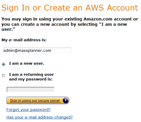signing up for amazon aws