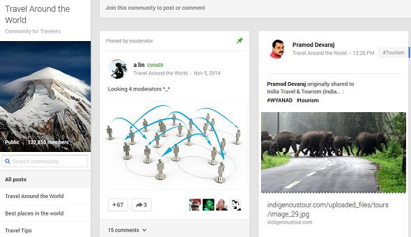 Nice looking travel page on Google plus