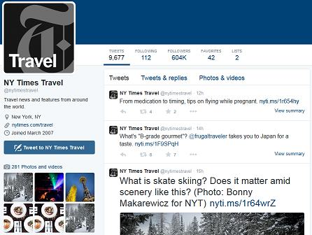 nice looking travel account on tiwtter
