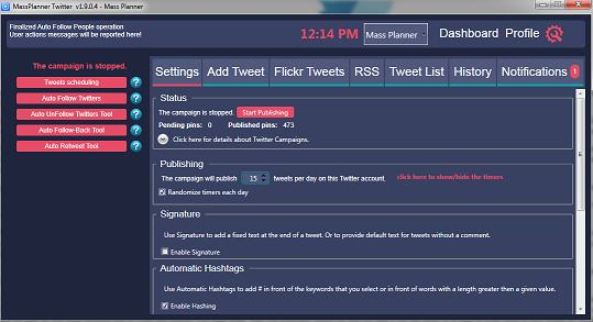 using mass planner to automate your twitter promotions