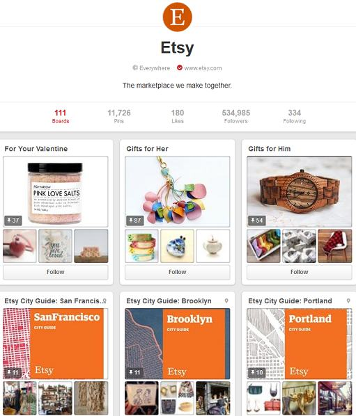 etsy pinterest page