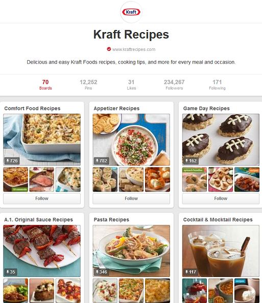 kraft recipes pinterest page
