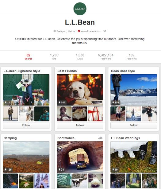 l l bean pinterest account