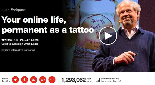 ted talks - your own life permenent as a tatoo